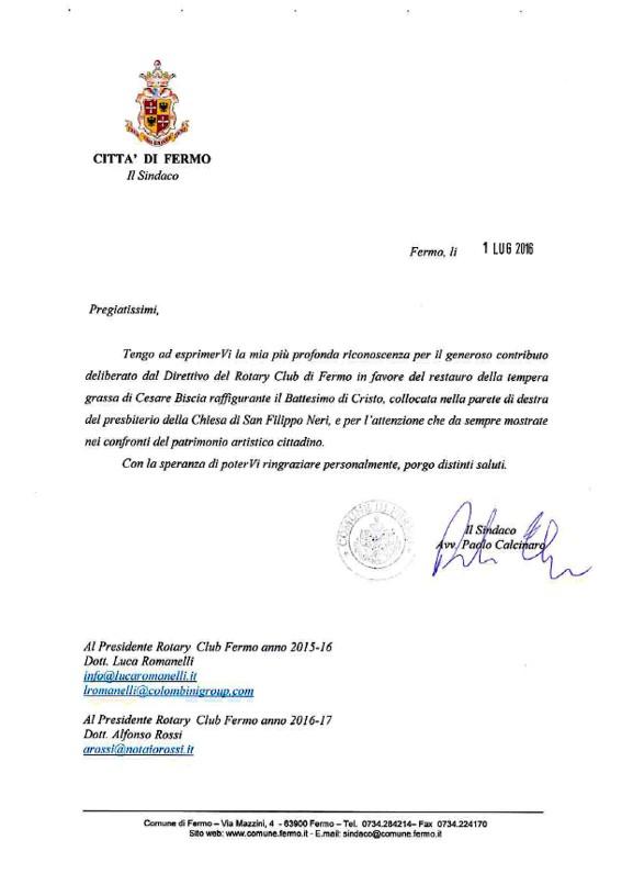Ringraziamenti Rotary Club Fermo per sostegno restauro dipinto Chiesa San Filippo